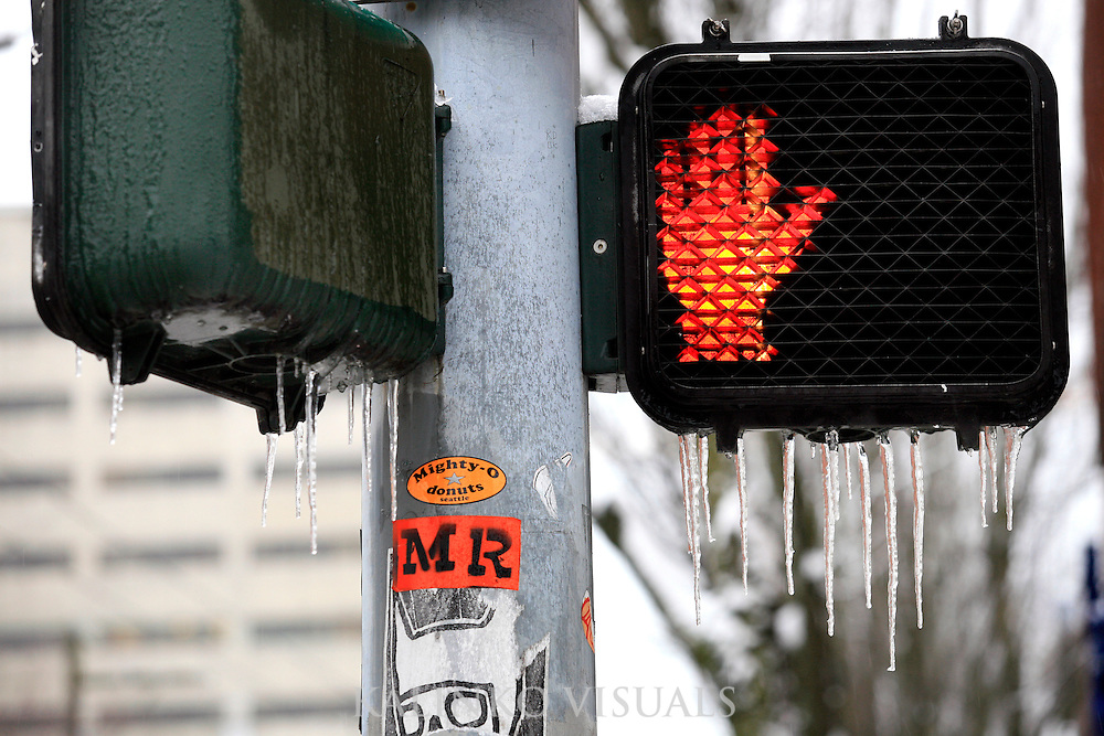 01192012- Icicles hang from the bottom of a crosswalk sign in the Capitol Hill neighborhood of Seattle on day two of Seattle's Snowmageddon.