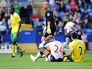 Picture by Chris Donnelly/Focus Images Ltd. 07500 903009 .17/9/11.David N Gog of Bolton shows his frustration after missing the final chance during the Barclays Premier League match at Reebok stadium, Bolton.