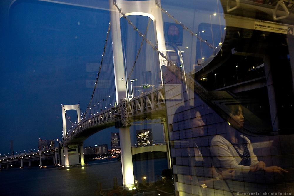 Yurikamome, overground train, before passing over Rainbow Bridge in Tokyo.