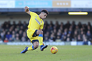 AFC Wimbledon striker Lyle Taylor (33) and Southend United striker Marc-Antoine Fortune (14) in action during the EFL Sky Bet League 1 match between Southend United and AFC Wimbledon at Roots Hall, Southend, England on 26 December 2016. Photo by Stuart Butcher.