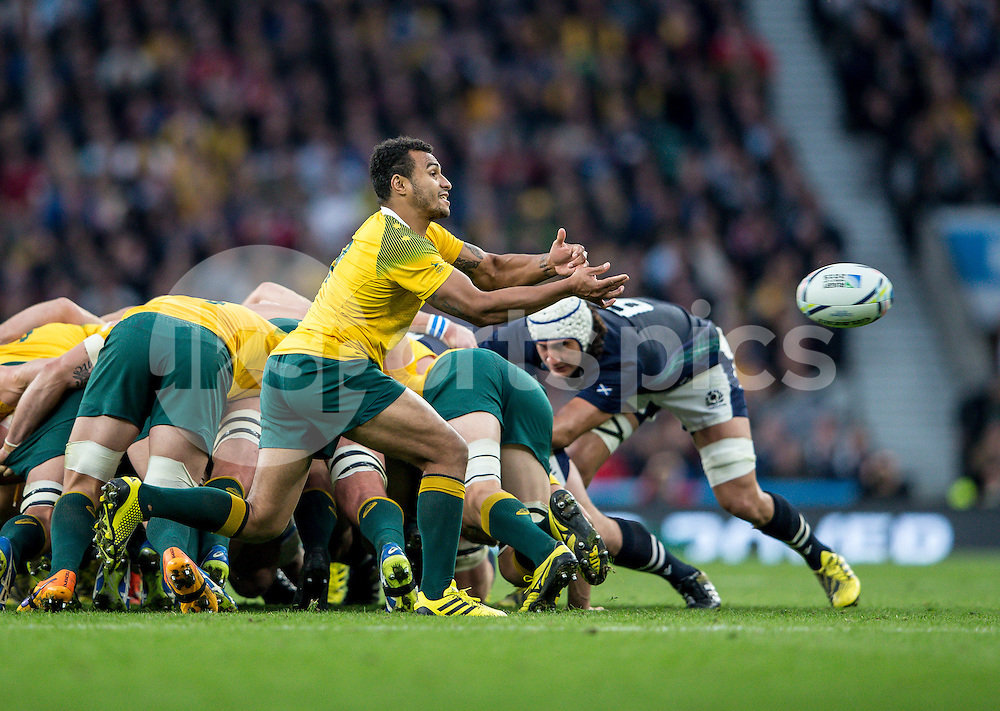 Will Genia of Australia during the Rugby World Cup Quarter Final match between Australia and Scotland played at Twickenham Stadium, London on the 18th of October 2015. Photo by Liam McAvoy.