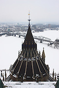 Roof of the Parliamentary Library of Canada in Ottawa, Ontario, Canada on February 22, 2009. View form the Peace Tower with Ottawa River, Alexandra Bridge and City of Gatineau, Quebec on the background,