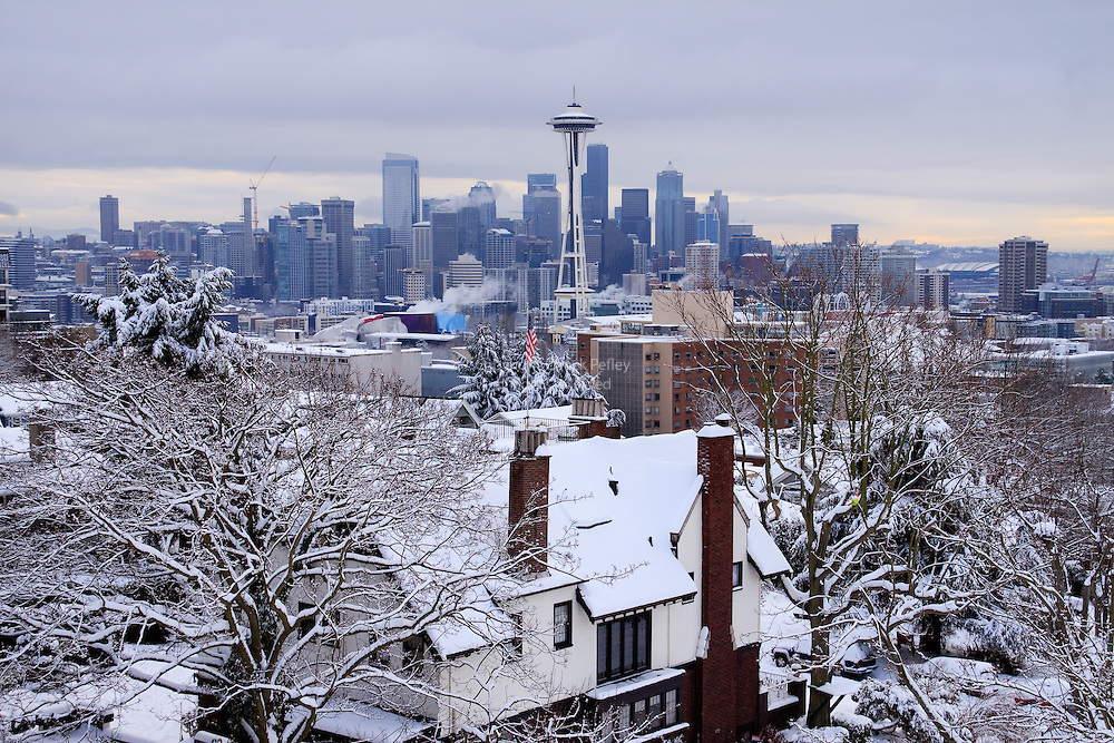 Seattle skyline view after winter snow storm, from Kerry Park on Queen Anne Hill, Seattle, Washington