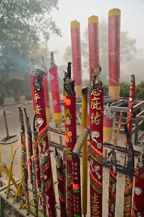 Incense sticks burning on first day of Lunar New Year 2009 at Po Lin monastery, Lantau, Hong Kong