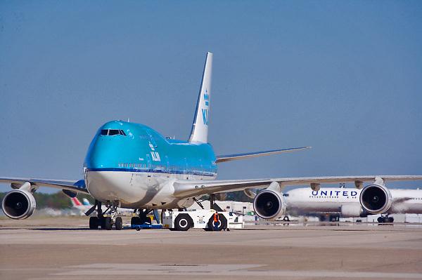 KLM jetliner preparing to depart Houston's Intercontinental Airport