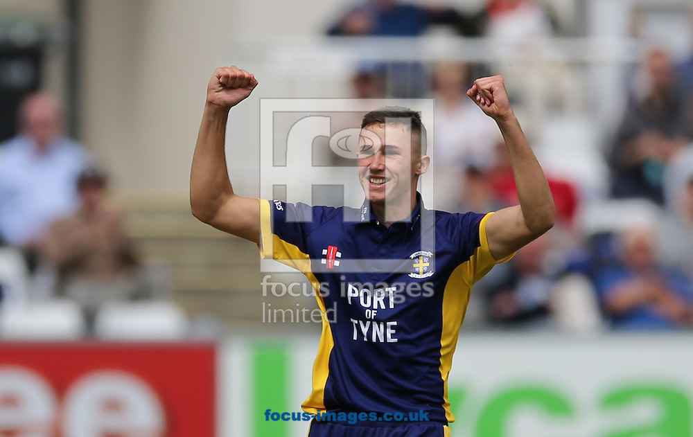 Paul Coughlin of Durham County Cricket Club celebrates taking a wicket during the Royal London One Day Cup match at Emirates Durham ICG, Chester-le-Street<br /> Picture by Simon Moore/Focus Images Ltd 07807 671782<br /> 14/08/2014