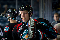 KELOWNA, CANADA - SEPTEMBER 22:  Lassi Thomson #2 of the Kelowna Rockets climbs over the boards onto the ice during warm up against the Kamloops Blazers on September 22, 2018 at Prospera Place in Kelowna, British Columbia, Canada.  (Photo by Marissa Baecker/Shoot the Breeze)  *** Local Caption ***