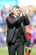 Manchester United Manager, Ole Gunnar Solskjaer applauds the Manchester United fans after during the Premier League match between Huddersfield Town and Manchester United at the John Smiths Stadium, Huddersfield, England on 5 May 2019.