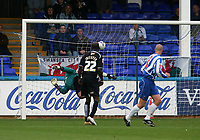 Photo: Andrew Unwin.<br />Hartlepool Utd v Swansea. Coca Cola League 1.<br />17/09/2005.<br />Swansea's goalkeeper, Willy Gueret, is beaten by a free-kick from Hartlepool's Ritchie Humphries.
