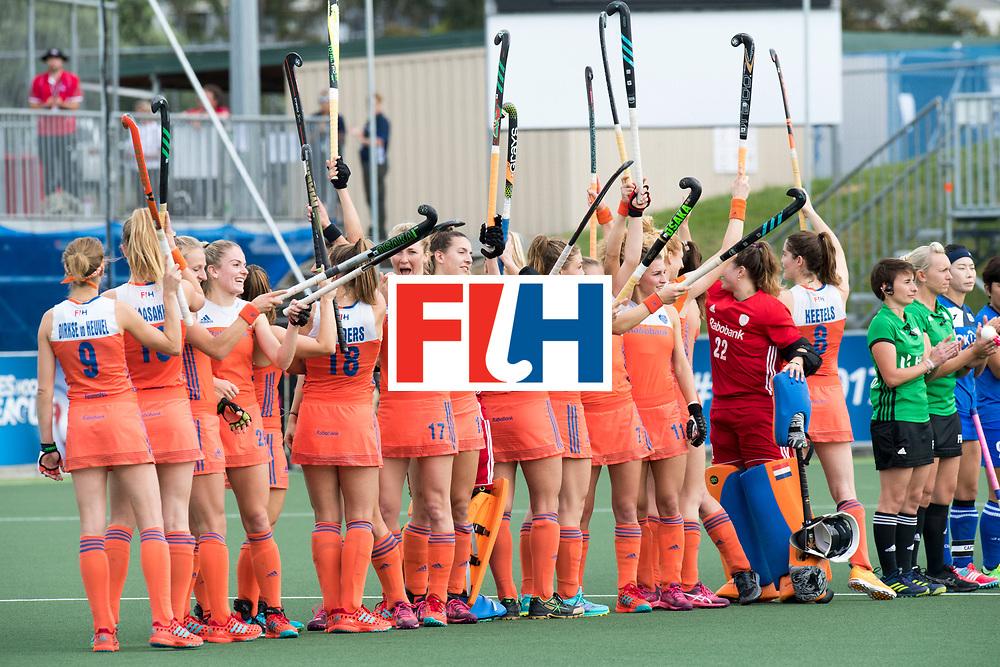 AUCKLAND - Sentinel Hockey World League final women<br /> Match id: 10299<br /> 09 NED v KOR (Pool A)<br /> Foto:  Line up.<br /> WORLDSPORTPICS COPYRIGHT FRANK UIJLENBROEK