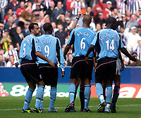 Photo. Glyn Thomas. Digitalsport<br /> West Bromwich Albion v Fulham. <br /> Barclays Premiership. 18/09/2004.<br /> Fulham captain Sylvain Legwinski (L) vents his frustration as Papa Bouba Diop (#14) is shown the red card.