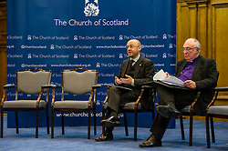 Pictured: Partick Harvey and John Chalmers, Moderator of the Church of Scotland<br /> <br /> The People Politics Hustings,  organised by the Church of Scotland, allowed voters to question SNP deputy John Swinney, Scottish Labour leader Kezia Dugdale, Scottish Liberal Democrat leader Willie Rennie, Scottish Greens co-convener Patrick Harvie and former Scottish Conservatives leader Annabel Goldie ahead of the Scottish Elections. Before the politicians had a chance to speak they had a chance to listen to five speakers with different viewpoints on how Scotland has supported them in the past and how it should support them in the future..<br /> Ger Harley | EEm 4 April 2016