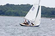 _V0A8095. ©2014 Chip Riegel / www.chipriegel.com. The 2014 Bullseye Class National Regatta, Fishers Island, NY, USA, 07/19/2014. The Bullseye is a Nathaniel Herreshoff designed 15' Marconi rig sailing boat.