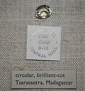 Diamond Gem. Circular with brilliant cut. From Tsarasaotra, Madagascar.