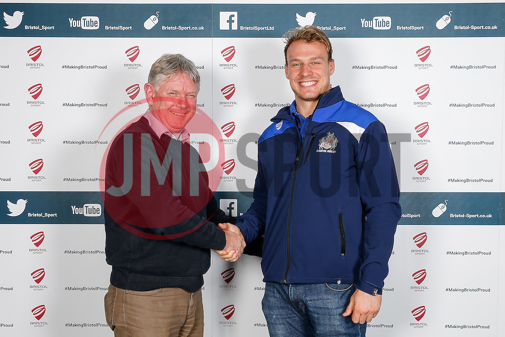 Mitch Eadie of Bristol Rugby poses during the Player Sponsors' Dinner in the Heineken Lounge at Ashton Gate - Mandatory byline: Rogan Thomson/JMP - 08/02/2016 - RUGBY UNION - Ashton Gate Stadium - Bristol, England - Bristol Rugby Player Sponsors' Dinner.