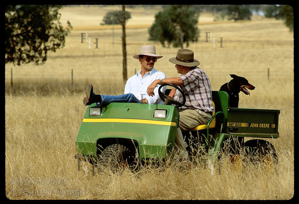 Farmer Jack Veitch sits in all-terrain vehicle talking with Zel Bodulovic in field;Coolamon, NSW Australia