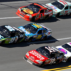 April 17, 2011; Talladega, AL, USA; NASCAR Sprint Cup Series driver Greg Biffle (16) drafts Carl Edwards (99), David Gilliland (34) drafts Tony Stewart (14) and Andy Lally (71) drafts Jamie McMurray (1) during the Aarons 499 at Talladega Superspeedway.   Mandatory Credit: Derick E. Hingle
