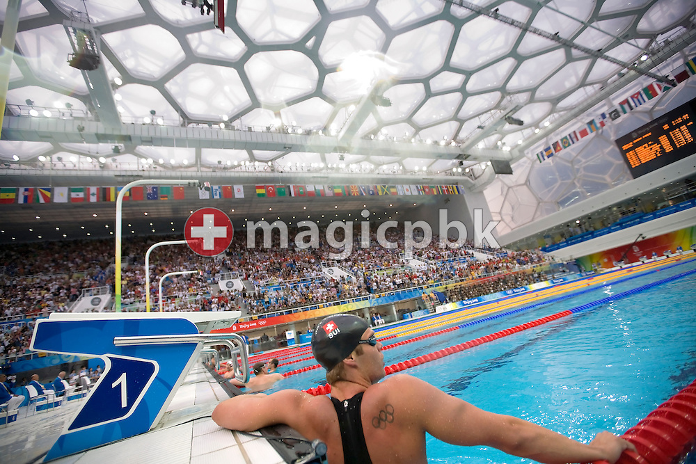 Dominik MEICHTRY of Switzerland reacts after competing in the Men's 200m Freestyle Final held at the National Aquatics Center (Water Cube) at the Beijing 2008 Olympic Games in Beijing, China, Tuesday, Aug. 12, 2008. (Photo by Patrick B. Kraemer / MAGICPBK)