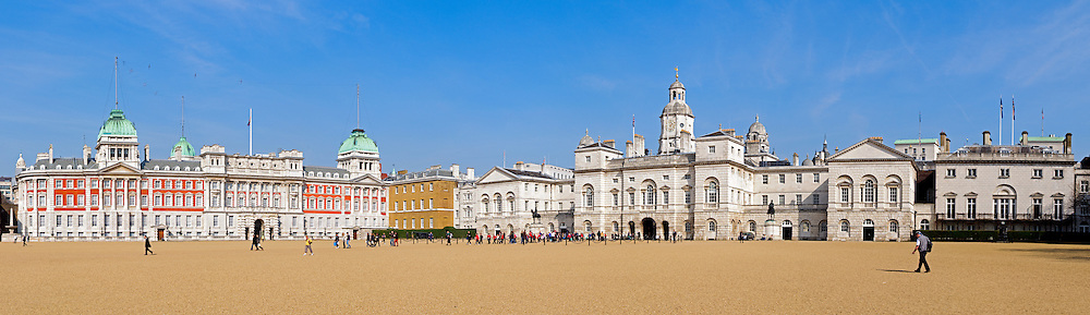 High resolution panorama of Whitehall Palace in downtown London near Westminster Palace.