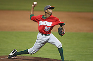 TinCaps pitcher Alexis Lara (16) delievers a pitch in game three of the Midwest League Championship at Community Field in Burlington, Iowa on September 17, 2009.