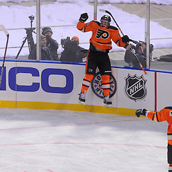 Philadelphia Flyers center Brayden Schenn (10) celebrates his first NHL goal during second period NHL Winter Classic action between the New York Rangers and Philadelphia Flyers at Citizens Bank Park. The Rangers defeated the Flyers 3-2.