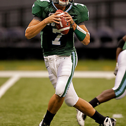 Sep 12, 2009; New Orleans, LA, USA; Tulane Green Wave quarterback Joe Kemp (7) in pregame against BYU Cougars at the Louisiana Superdome.  Mandatory Credit: Derick Hingle-US PRESSWIRE