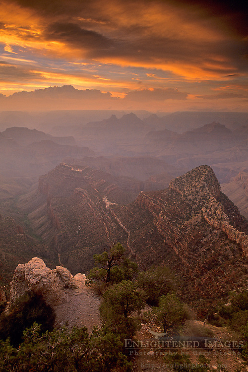 Stormy sunset at Grand Canyon, from Grandview Point, South Rim, Grand Canyon Nat'l. Park, ARIZONA