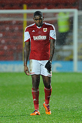A slumped Jay Emmanuel-Thomas for Bristol City cuts a dejected figure - Photo mandatory by-line: Dougie Allward/JMP - Tel: Mobile: 07966 386802 14/01/2014 - SPORT - FOOTBALL - Vicarage Road - Watford - Watford v Bristol City - FA Cup - Third Round - replay