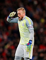 Football - 2018 / 2019 Premier League - Liverpool vs. Leicester City<br /> <br /> Kasper Schmeichel of Leicester City at Anfield.<br /> <br /> COLORSPORT/LYNNE CAMERON