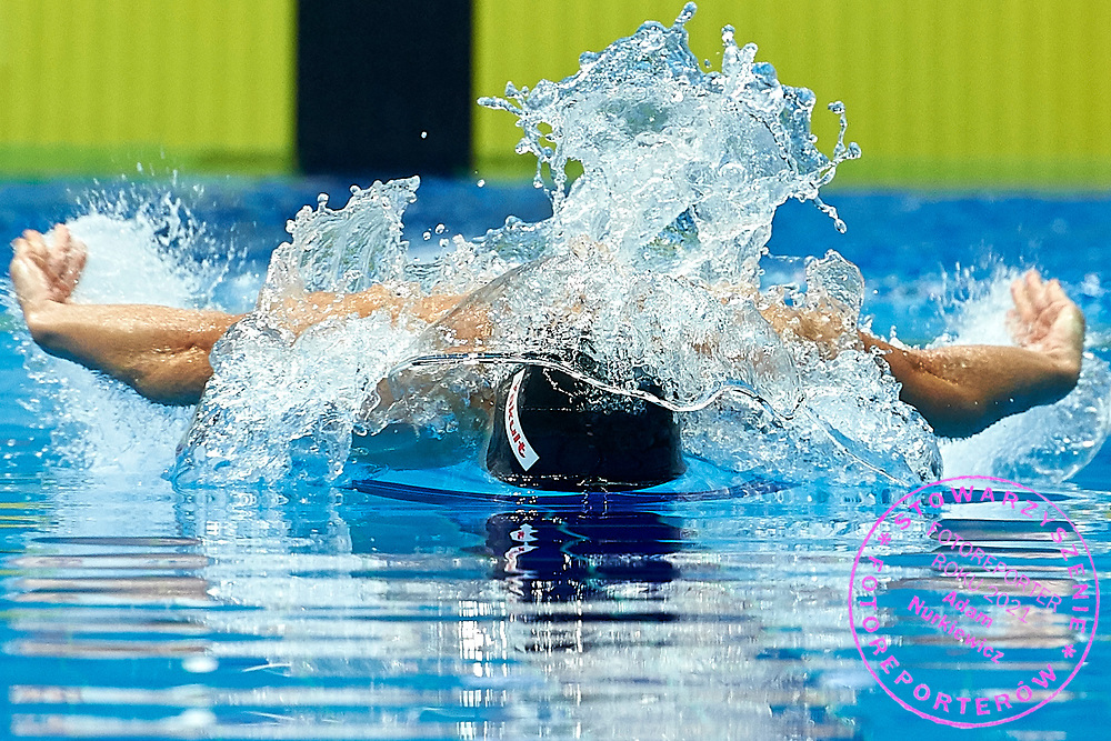 Ashgabat, Turkmenistan - 2017 September 24: Ruslan Nazarow from Turkmenistan competes in Men's 50m Butterfly Heat 4 while Short Course Swimming competition during 2017 Ashgabat 5th Asian Indoor & Martial Arts Games at Aquatics Centre (AQC) at Ashgabat Olympic Complex on September 24, 2017 in Ashgabat, Turkmenistan.<br /> <br /> Photo by © Adam Nurkiewicz / Laurel Photo Services
