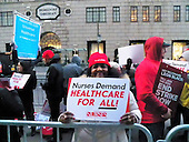 Single Payer Health Care and Justice Protest outside Trump Towers-New York, NY. USA