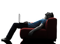 one caucasian man sofa couch computer computing laptop sleeping in silhouette isolated on white background