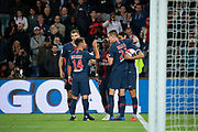 Moussa DIABY (PSG) scored a goal and celebrated it with Edinson Roberto Paulo Cavani Gomez (El Matador) (El Botija) (Florestan) (PSG), Julian Draxler (PSG), Juan Bernat (PSG), Thomas Meunier (PSG) during the French Championship Ligue 1 football match between Paris Saint-Germain and AS Saint-Etienne on September 14, 2018 at Parc des Princes stadium in Paris, France - Photo Stephane Allaman / ProSportsImages / DPPI