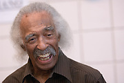 Gerald Wilson, Jazz legend visits with students in room 101 Gliden Hall before conducting with the jazz ensemble on Thursday, April 24, 2008