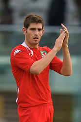 REYKJAVIK, ICELAND - Wednesday, May 28, 2008: Wales' match-winner Ched Evans applauds the fans after his goal sealed a 1-0 victory over Iceland on his debut during the international friendly match at the Laugardalsvollur Stadium. (Photo by David Rawcliffe/Propaganda)