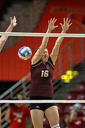 31 OCT 2008: The ball zooms past the block attempt of Addie Foley during a match in which the Missouri State Bears defeated the Redbirds of Illinois State 3 sets to 2 on Doug Collins Court inside Redbird Arena in Normal Illinois