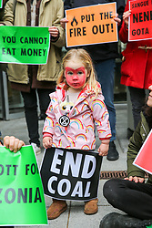 © Licensed to London News Pictures. 15/11/2019. London, UK. Activists from Extinction Rebellion climate change group protest outside the offices of asset manager BlackRock in City of London. BlackRock is the world's top investor in deforestation and coal, the top US investor in oil & gas, and one of the world's largest asset managers, controlling more funds than the GDP of Japan. Photo credit: Dinendra Haria/LNP