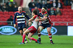 Ryan Bevington of Bristol Rugby closes down Tim Visser of Harlequins - Mandatory by-line: Dougie Allward/JMP - 10/02/2017 - RUGBY - Ashton Gate - Bristol, England - Bristol Rugby v Harlequins - Aviva Premiership