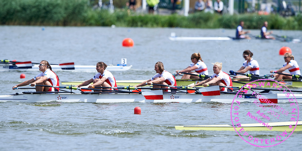 Bronze medalists (L-R) Monika Ciaciuch and Maria Springwald and Joanna Leszczynska and Agnieszka Kobus compete at Women&rsquo;s Quadruple Sculls (W4x) Final A during third day the 2015 European Rowing Championships on Malta Lake on May 31, 2015 in Poznan, Poland<br /> Poland, Poznan, May 31, 2015<br /> <br /> Picture also available in RAW (NEF) or TIFF format on special request.<br /> <br /> For editorial use only. Any commercial or promotional use requires permission.<br /> <br /> Mandatory credit:<br /> Photo by &copy; Adam Nurkiewicz / Mediasport