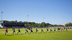 HAVERFORDWEST, WALES - Sunday, August 25, 2013: Wales players warm-up before the Group A match against France of the UEFA Women's Under-19 Championship Wales 2013 tournament at the Bridge Meadow Stadium. (Pic by David Rawcliffe/Propaganda)