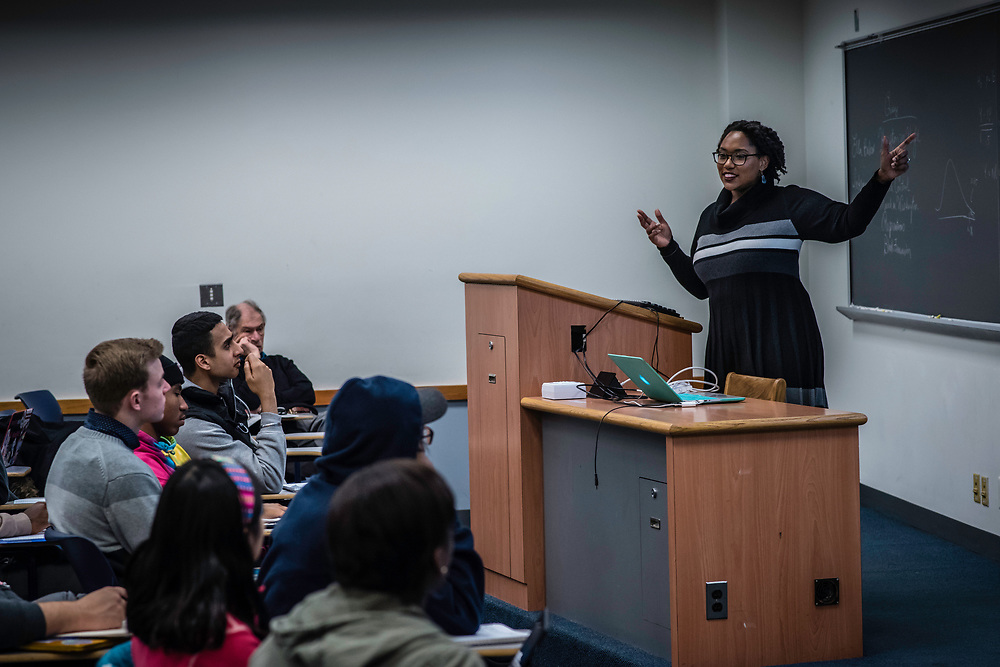 WASHINGTON, DC -- 12/5/16 -- Marcia Chatelain in her African American Studies class. Marcia Chatelain is an Associate Professor of History at Georgetown. She has spurred the development of the syllabus as a tool for social justice.…by André Chung #_AC25249