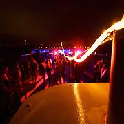 Getting a groove on on top of a river boat, cruising down the Rhein during Rhein in Flammen - dance floor w/fireworks!
