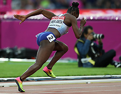 London, August 08 2017 . Dina Asher-Smith, Great Britain, launches from the starting blocks in the women's 200m heats on day five of the IAAF London 2017 world Championships at the London Stadium. © Paul Davey.