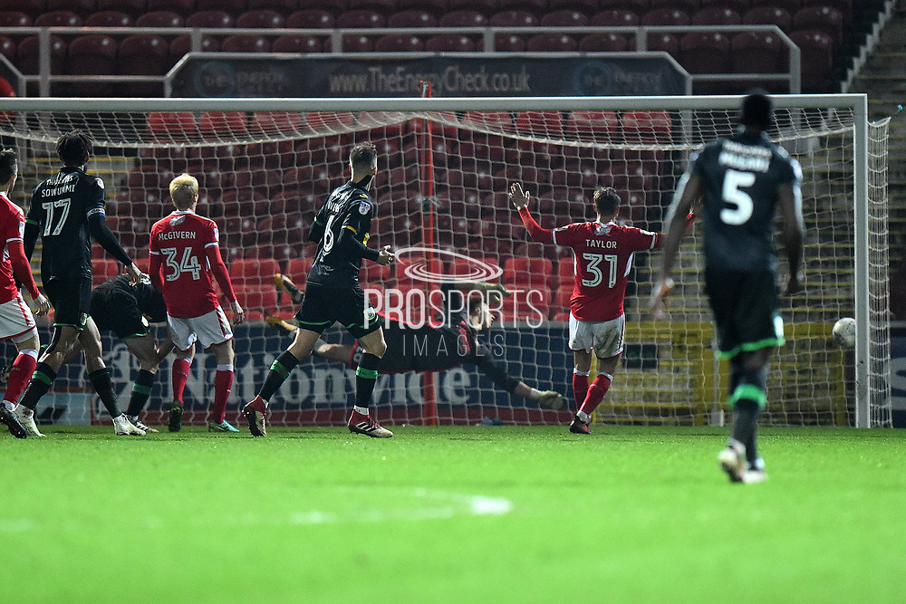 Goal - Alex Fisher (18) of Yeovil Town scores an equalising  goal to make the score 2-2 during the EFL Sky Bet League 2 match between Swindon Town and Yeovil Town at the County Ground, Swindon, England on 10 April 2018. Picture by Graham Hunt.