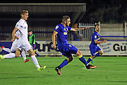 AFC Wimbledon midfielder Dean Parrett (18) goes on the attack during the EFL Trophy match between AFC Wimbledon and U23 Swansea City at the Cherry Red Records Stadium, Kingston, England on 30 August 2016. Photo by Stuart Butcher.