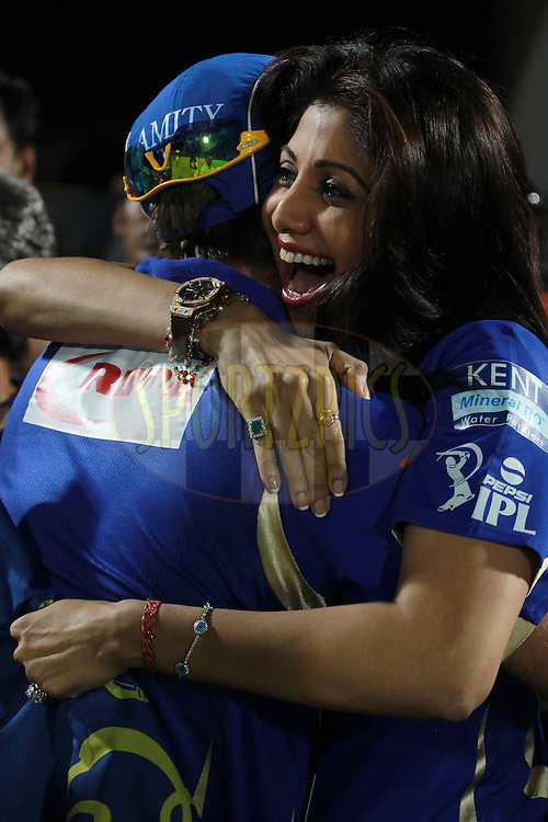 Shilpa Shetty celebrates her team's victory during match 61 of the Pepsi Indian Premier League ( IPL) 2013  between The Rajasthan Royals and the Chennai Super Kings held at the Sawai Mansingh Stadium in Jaipur on the 12th May 2013. Photo by Jacques Rossouw-IPL-SPORTZPICS  ..Use of this image is subject to the terms and conditions as outlined by the BCCI. These terms can be found by following this link:..http://www.sportzpics.co.za/image/I0000SoRagM2cIEc