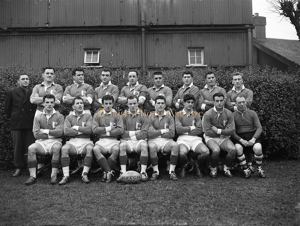 Irish Rugby Football Union, Ireland v France, Five Nations, Landsdowne Road, Dublin, Ireland, Saturday 22nd January, 1955,.22.1.1955, 1.22.1955,..Referee- Mr Ivor David, Welsh Rugby Union, ..Score- Ireland 3 - 5 France,..French Team, ..M Vannier, Wearing number 15 French jersey, Full Back, Racing Club de France Rugby Football Club, Paris France,..J Lepatey, Wearing number 14 French jersey, Left Wing, S C Mazamet Rugby Football Club, France,..R Martine, Wearing number 13 French jersey, Left Centre, F.C Lourdais Rugby Football Club, France, ..M Prat, Wearing number 12 French jersey, Right centre, F.C Lourdais Rugby Football Club, France, ..A Boniface, Wearing number 11 French jersey, Right Wing, Stade Montois Rugby Football Club, France,..A Haget, Wearing number 10 French jersey, Outside Half, Paris University Rugby Football Club, France,..G Dufau, Wearing number 9 French jersey, Scrum, Racing Club de France Rugby Football Club, Paris France,..A Domenech, Wearing number 2 French jersey, Forward, R C Vichy Rugby Football Club, Paris France,..P Labadie, Wearing number 1 French jersey, Forward, Aviron Bayonnais Rugby Football Club, France,..R Brejassou, Wearing number 3 French jersey, Forward, Stade Tarbais Rugby Football Club, France,..B Chevallier, Wearing number 4 French jersey, Forward, A S Montferrand Rugby Football Team, France, ..M Celaya, Wearing number 5 French jersey, Forward, Biarritz Olympique Rugby Football Club, France,..J Prat, Wearing number 6 French jersey, Captain of the French team, Forward, F.C Lourdais Rugby Football Club, France,..R Baulon, Wearing number 7 French jersey, Forward, C S Vienne Rugby Football Club, France,  ..H Domec, Wearing number 8 French jersey, Forward, F.C Lourdais Rugby Football Club, France,