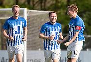 FODBOLD: Casper Porsgaard (Hornbæk IF) jubler med Shawn Engvej og Christian H. Nielsen efter 2-0 under finalen i Seriepokalen mellem Hornbæk IF og Ballerup Boldklub den 20. maj 2019 på Brøndby Stadion. Foto: Claus Birch.