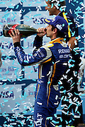 Renault E.Dams driver, Nico Prost drinking champagne during round 10, Formula E, Battersea Park, London, United Kingdom on 3 July 2016. Photo by Matthew Redman.