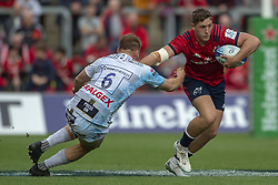 October 20, 2018 - Limerick, Ireland - Dan Goggin of Munster tackled by Freddie Clarke of Gloucester during the Heineken Champions Cup match between Munster Rugby and Gloucester Rugby at Thomond Park in Limerick, Ireland on October 20, 2018  (Credit Image: © Andrew Surma/NurPhoto via ZUMA Press)